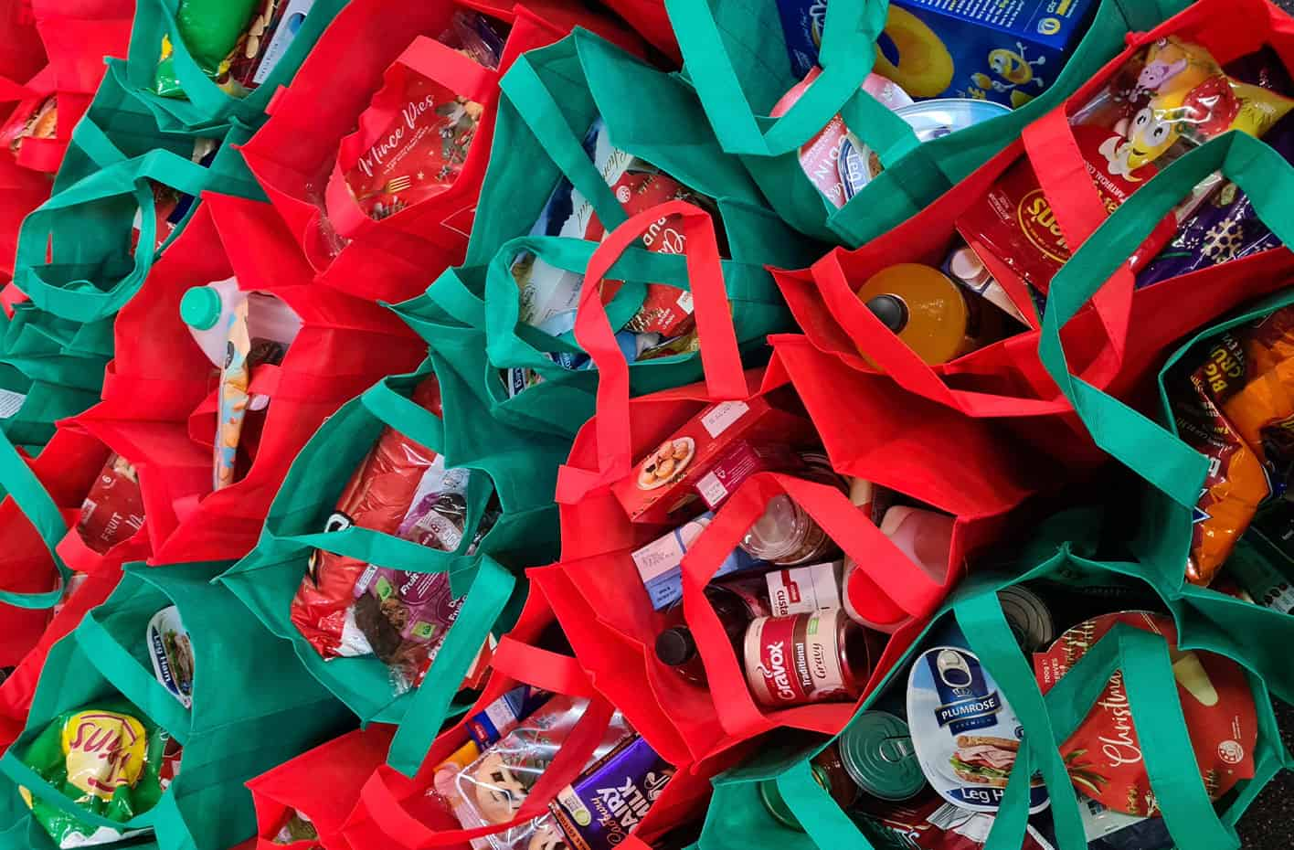Shopping bags of donated food